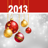 New 2013 year greeting card. With Christmas balls and white snowflakes Royalty Free Stock Images