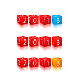 New 2013 Year Numbers on 3d Cubes. New 2013 Year Digits on 3d Red Cubes Set. Icon Illustration Isolated on White Background royalty free illustration
