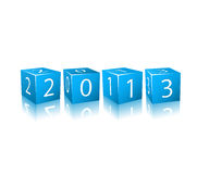 New 2013 Year Numbers on Blue 3d Cubes. Icon Illustration Isolated on White Background Royalty Free Stock Photo