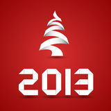 New 2013 Year Origami. Style numbers and christmas tree on red background Royalty Free Illustration