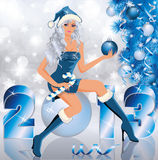 New 2013 Year and Santa girl Royalty Free Stock Images