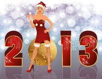 New 2013 year with sexual santa girl. New 2013 year banner with sexual santa girl, vector Stock Image