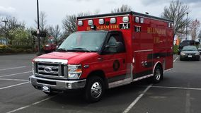NEW 2015 Ford E350 Ambulance: Bellingham Fire EMS A4 royalty free stock photo