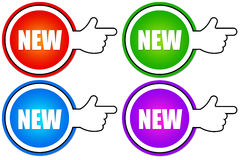 New. Colorful icons pointing out new situation or product Stock Image