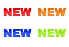 New. Set of New icons / text made in 3D. Glossy effect Royalty Free Stock Photo