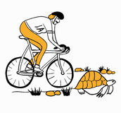New Achilles overtakes the tortoise  illustration caricature Stock Photo