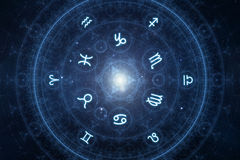 New age horoscope signs. Zodiac wheel with moon in them iddle and all zodiac signs, in space Stock Photos