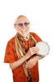 New Age Man with Bongo. Portrait of Happy New Age Senior with Bongo Drum royalty free stock images