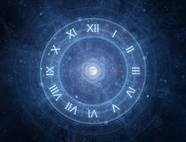 New age time concept. Time - roman clock - new age spiritual space concept Royalty Free Stock Photography