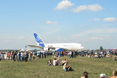 A new Airbus A-380 plane prepares to take off Royalty Free Stock Images