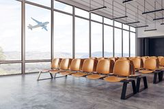 New airport interior. New airport waiting area interior with seats and windows with landscape view. Travel and lifestyle concept. 3D Rendering Royalty Free Stock Image