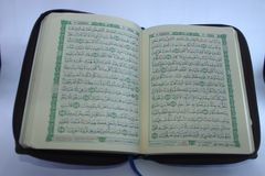 New Al-Qur`an, Islam Religion Scripture. New Scripture of Islam Religion, Al-Qur`an that made in Indonesia by local people royalty free stock images