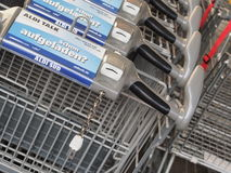 New Aldi shopping carts Stock Photo