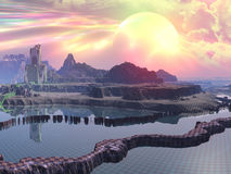 New Alien World Under Construction. Huge rainbow hued planet above a newly terraformed landscape with buildings under construction royalty free stock images