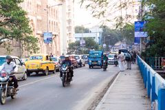 New AlEvening traffic in the city, cars on highway road, traffic jam at street after fallen of royalty free stock photos