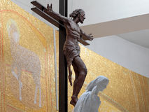 New altar of Fatima. Detail of the altar of the new basilica of Fatima - Portugal - seeing Christ and Our Lady Stock Photo