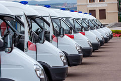 New ambulances in line Royalty Free Stock Photos