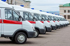 New ambulances in line Royalty Free Stock Image