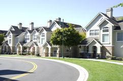 New American dream homes. Nice new neighborhood in the town center of Mill Creek, near Seattle, USA Stock Photo