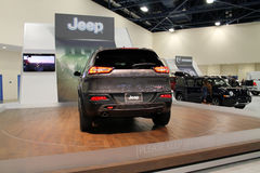 New american iconic suv at auto show Stock Photo