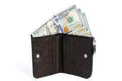 New american money dollars in leather purse isolated Stock Images
