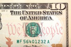 New American ten dollar bill a close-up. Stock Images