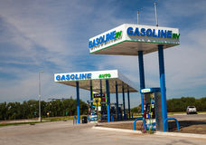 New Anew/Flex Fuel Gas Station Pumps and Signage royalty free stock photo