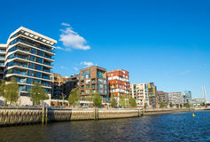 New apartment buildings. Some new apartment buildings seen in the Hafencity in Hamburg Stock Image