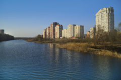New apartment buildings  on the river bank. Balashikha, Russia. New residential district on the bank of the river Pekhorka. Balashikha, Moscow region, Russia Stock Images