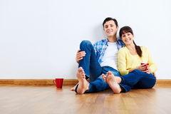 New apartment couple royalty free stock photos