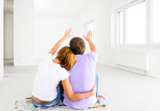 New apartment. Couple at their new empty apartment Stock Photos