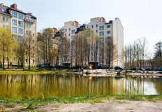 New apartment houses near the lake Royalty Free Stock Image