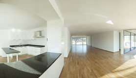 New apartment panoramic interior, empty room Royalty Free Stock Image