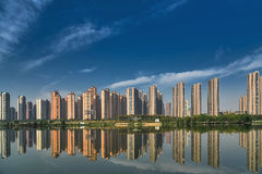 New apartments. Chinese newly built apartments by the lake stock photo
