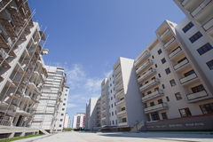 New apartments construction site - very wide angle Royalty Free Stock Photography