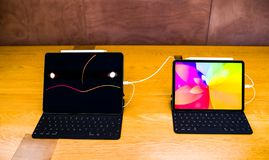 New Apple Computers iPad Pro tablet compare size royalty free stock image