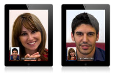 New Apple iPad 2 video calling. Illustration of the new Apple iPad 2 video calling. The new iPad 2 have two cameras for video calling and HD video recording stock photo