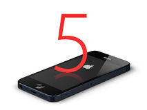 New apple iphone 5. Isolated with big 5 sign Stock Images