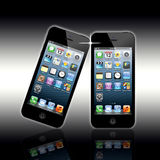 New Apple Iphone 5. Here is the latest, market leading, Apple mobile phone the iphone 5. Showing here is the touch screen and controls with screen apps. The Royalty Free Stock Image