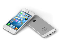New apple iphone 5 white. Face and back Royalty Free Stock Photo