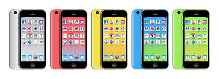 New Apple iphone 5c. The new Apple iPhone 5c launched in September 2013 has a A6 chip,  8MP iSight camera, a 4-inch retina display, plus ultra‑fast wireless Royalty Free Stock Images