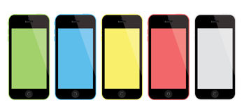 New Apple iPhone. Apple on Tuesday, 10 September 2013 unveiled its new flagship iPhone 5S and a new budget smartphone, the iPhone 5C, as it seeks to attract more vector illustration