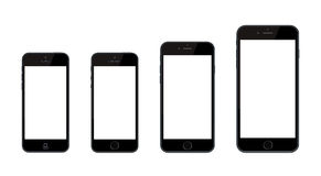 New Apple iPhone 6 and iPhone 6 Plus and iPhone 5 Stock Photography