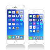 New Apple Iphone 6 Plus. Here the latest new Apple iPhone 6 models the iPhone 6 and the iPhone 6 Plus. This market leader sold over 135 million iPhones in its Royalty Free Stock Image
