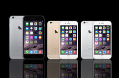 New Apple Iphone 6 Plus. Here the latest new Apple iPhone 6 models the iPhone 6 and the iPhone 6 Plus. This market leader sold over 135 million iPhones in its Royalty Free Stock Photo
