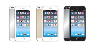 New Apple iphone 5s. The new Apple iPhone 5s launched in September 2013 has a chip with 64-bit architecture. A fingerprint identity sensor. A better, faster Royalty Free Illustration