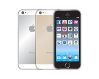 New Apple iphone 5s. The new Apple iPhone 5s launched in September 2013 has a chip with 64-bit architecture. A fingerprint identity sensor. A better, faster Stock Photo