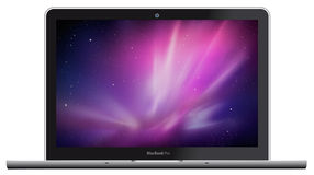 New Apple MacBook Pro. Illustration of new Apple MacBook Pro. All new quad core processors. Thunderbolt technology. The FaceTime HD camera royalty free illustration