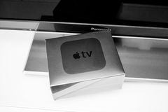 New Apple TV media streaming player microconsole Royalty Free Stock Photo