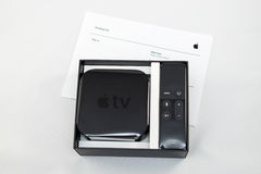 New Apple TV media streaming player microconsole Stock Photography